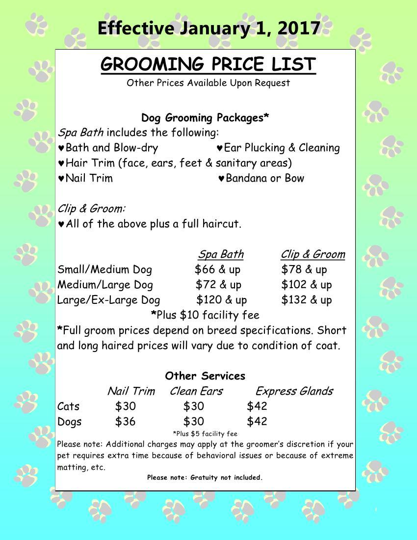 Mobile Dog Grooming Price List